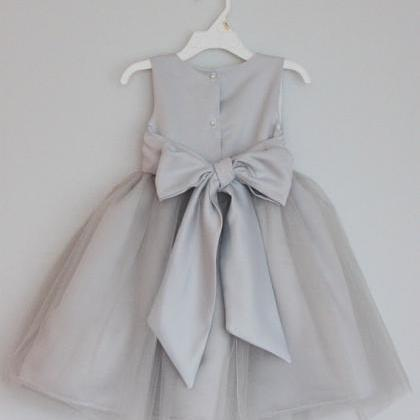 Grey Flower Girl Dress With Sash,Sleeveless Flower Girl Dress, on ...
