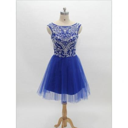 Elegant royal blue tulle boat neck ..