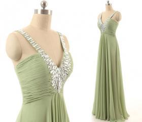 V-neck Green Long Prom Dress/A-line Floor Length Chiffon Prom Dress/Zipper/Lace-up Bridesmaid Dresses/Prom Dresses/Long Chiffon Dresses