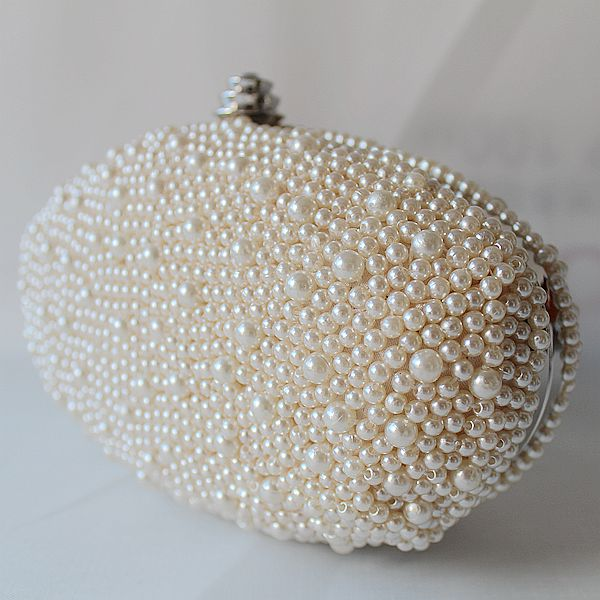 Evening Clutch Wedding Party Prom Bag ,fashion handbags, Simple Bag Fashion Bag New Design Made Of Satin And Pearls bags White&ivory Pearls