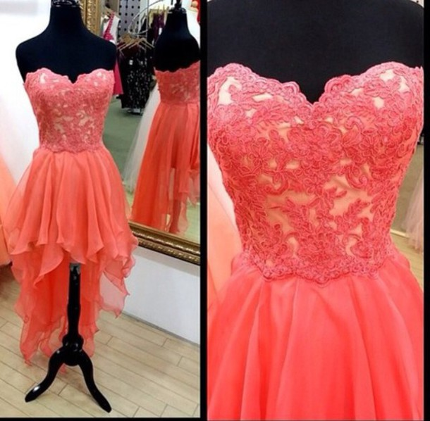 Watermelon chiffon and lace long back short front bridesmaid dress,formal evening prom party dress