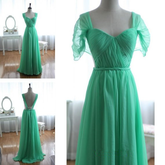 Simple Green Chiffon Cap Sleeve A Line Floor Length Cheap ...