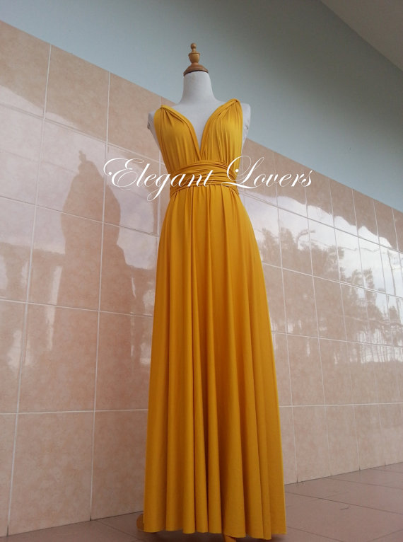 Golden Yellow Color Bridesmaid Dress Wedding Dress Infinity Dress ...