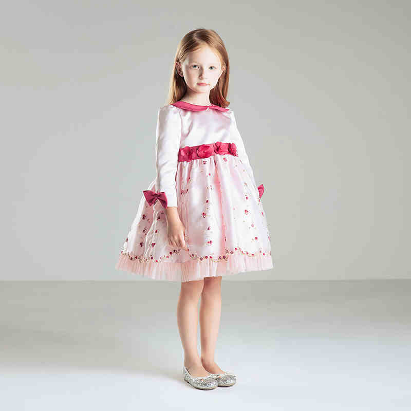 Lovely O-neck Long Sleeve Satin And Tulle Tutu Flower Girl Dresses ...