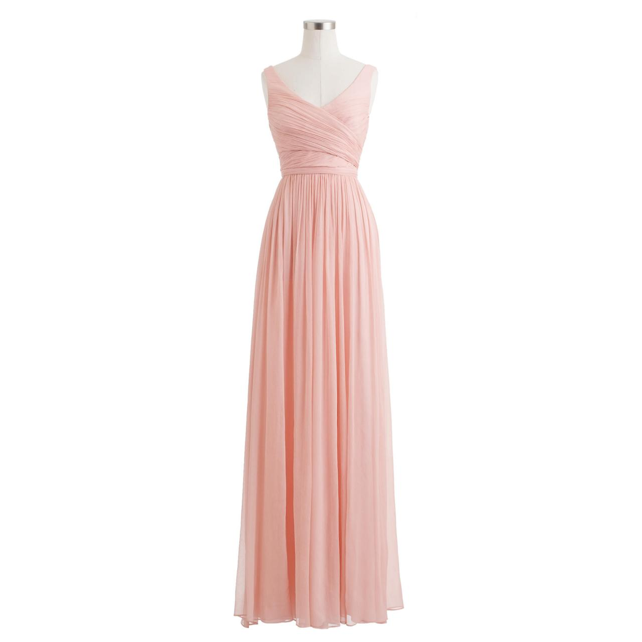 Sleeveless V neck chiffon floor length long evening dress,pleated prom dresses,A line bridesmaid dress,wedding party dress