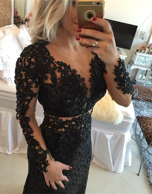 Long sleeveless black lace sheer waist mermaid beaded long prom dresses