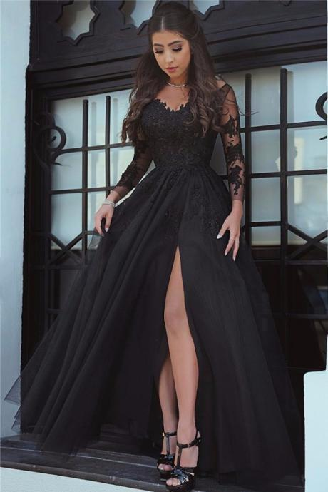 evening dress,black evening dress, Long Sleeve Black Slit Lace Evening Dress, Sexy Black Prom Dress, Sexy Evening Dress, Black Formal Dress, Slit Prom Dress, Long Sleeves Prom Dresses