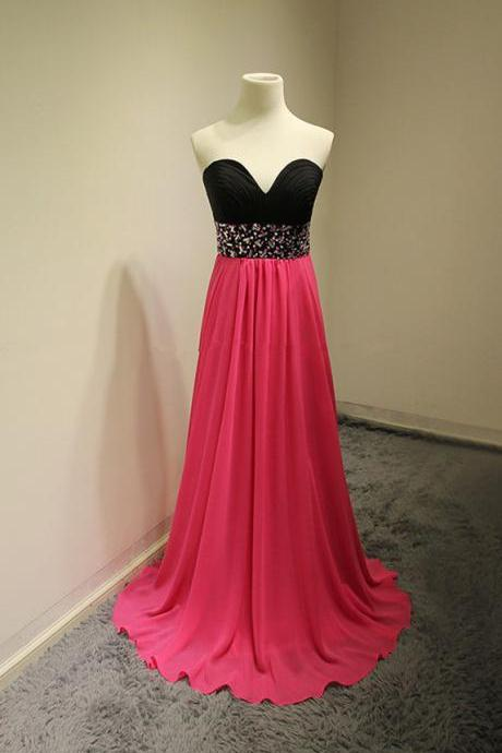 Sweetheart neck black top with hot pink a line prom dress