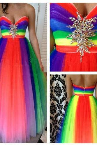 Rainbow tulle sweetheart beaded a line long prom gowns,pleated evening dress,formal evening party dress,zipper back graduation dress