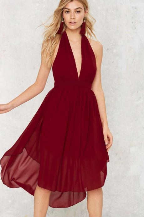 Sexy burgundy halter short front long back cocktail dress chiffon homecoming dress fashion women dresses elegant party dresses