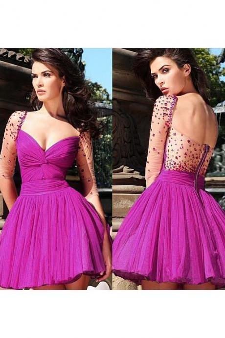 Rose tulle long sleeve homecoming dress,beaded knee length dress,formal evening dress,short party dress,see through back graduation dress,fashion dress elegant