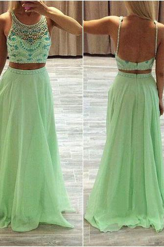 Sexy two piece beaded tank prom dress,mermaid party dress,formal evening dress,sexy elegant dress,chiffon skirt dresses,sleeveless dresses