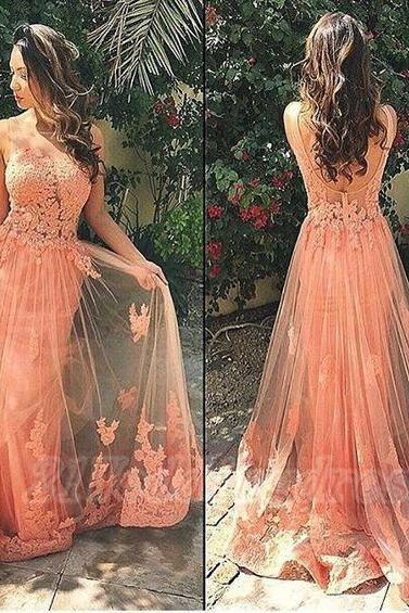 Tank sexy prom dress with appliques,low back formal party dress,peach evening dress,elegant dress for women,lace dress for wedding