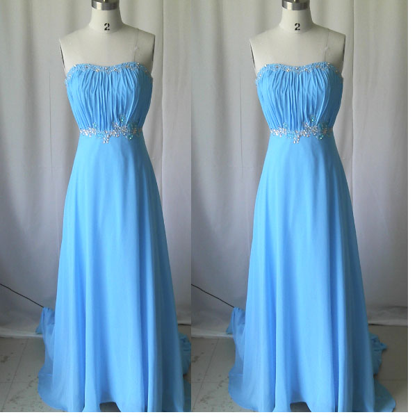 Blue prom dress,Long prom dress,New Arricval Simple Fashion Sweetheart Beaded Chiffon Sleeveless Long Chiffon Prom Dress.Bridesmaid dress