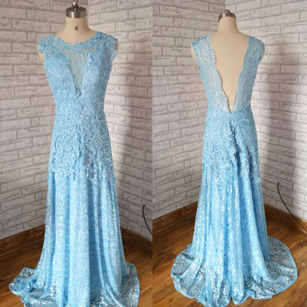 New Arrival Fashion Cap Sleeves Backless Blue Lace mermaid prom dress,Long elegant Princess prom dress.Fashion lace evenng dress