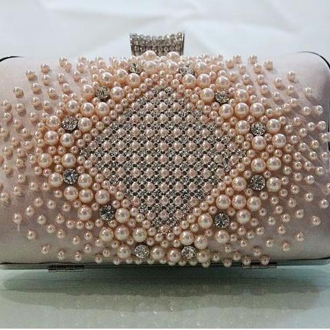 Evening Clutch Wedding Party Prom Bag Box Simple Bag Fashion Bag New Design Satin With Pearls Handbads 5 Colors