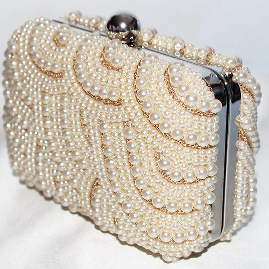 Evening Clutch Wedding Party Prom Bag ,fashion handbags, Simple Bag Fashion Bag New Design Made Of Satin And Pearls bags 3 Colors