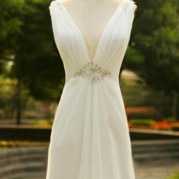 Sexy Backless Sweetheart white Beaded Long prom dress Graduation gown