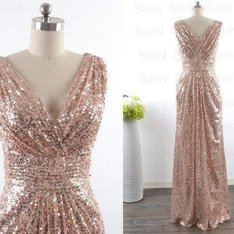 Sequin Lace V Neck Sexy Mermaid Gold Prom Dress Long Dress For Plus Size