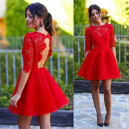 O neck lace and organza backless lace sexy red cocktail dress
