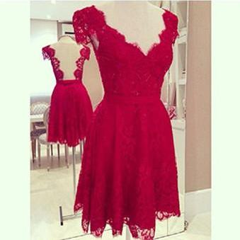 Cap sleeve V neck red lace knee length short junior bridsmaid dress