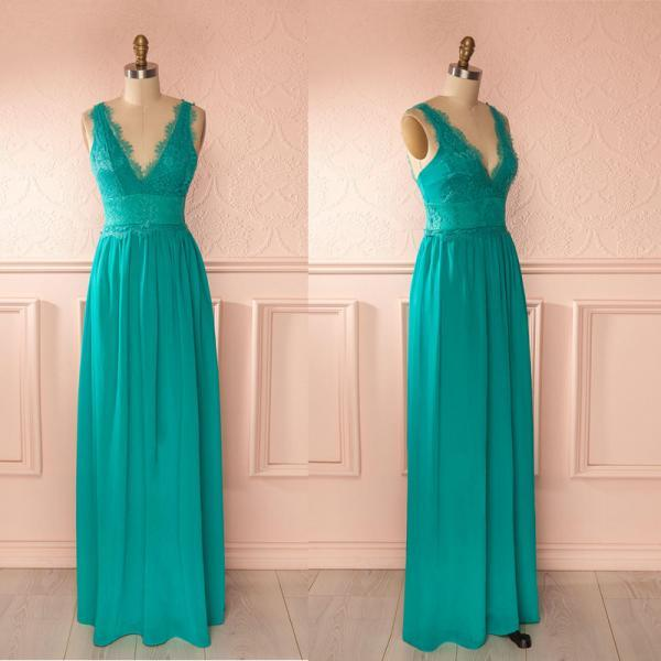 Green lace and chiffon V neck A line long prom dress,evening party dress