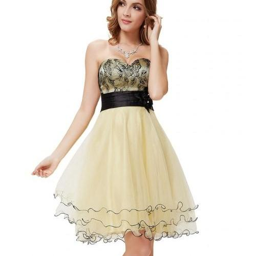 Korean style Strapless High-Waist Pleated Short Champagne Dress,Elegant Short Prom Dress,Tulle Cocktail Dresses,Homecoming Dresses