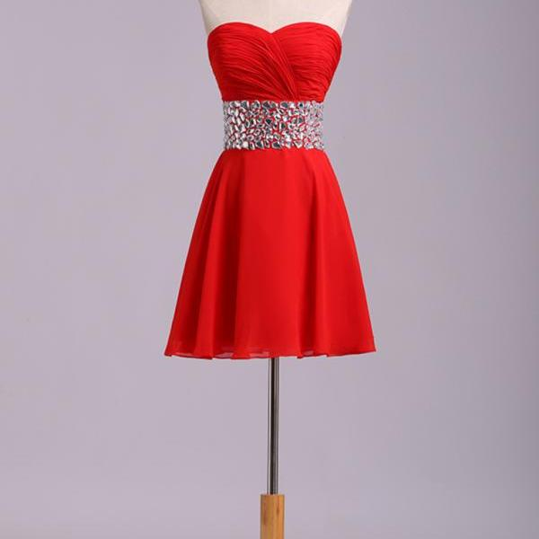 Sweetheart neck red chiffon knee length beaded belt short prom dress,zipper back cocktail dress,sexy homecoming dresses