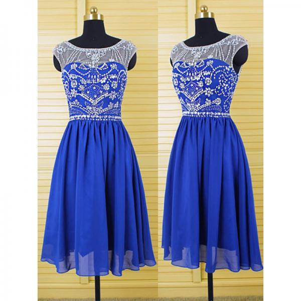 Royal blue chiffon cap sleeve knee length beaded short homecoming dress,sexy prom dress short,zipper back formal evening dresses