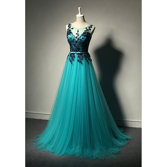 Boat neck mint green tulle long prom dress with black lace,A line floor length evening dress,see through back formal party dresses