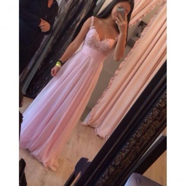 Spaghetti strap pink sequins and chiffon A line floor length prom party evening dress,formal party dress