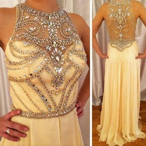 Sexy O neck sleeveless yellow chiffon A line floor length long evening party dress,elegant formal dress for wedding party