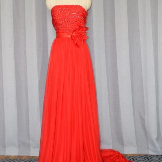High quality strapless beaded prom dress,red chiffon formal evening dresses,long train graduation dress,custom made party dresses